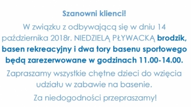 REZERWACJA BASENU - NIEDZIELA 14.10.2018R.