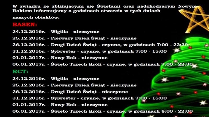 Godziny otwarcia obiektów AQUA-TUR